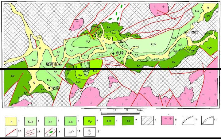 信江盆地地质构造略图